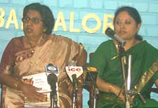 Dr. Renuka Ramappa (Chair Person) and Indira Sastry (co-chair) addressing media Persons in Bangalore